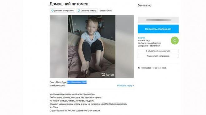 """В Петербурге наказали мужчину, выставившего на """"Авито"""" сына подруги"""