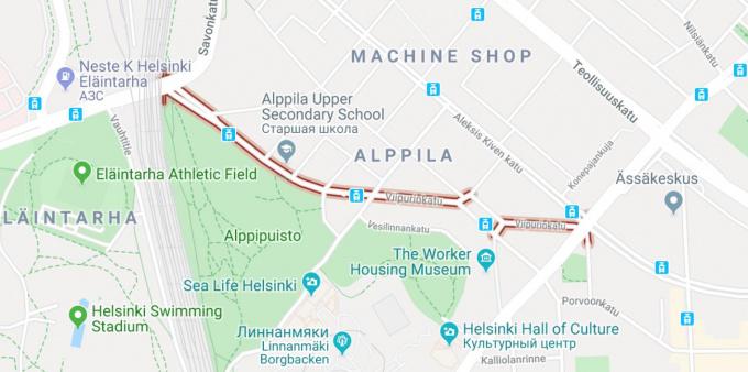 Улица Выборгская в Хельсинки