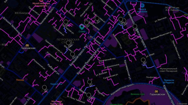 Петербуржец выделил на карте Петроградского района все проходные дворы