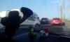 Утром на Володарском мосту образовалась пробка из-за ДТП с маршруткой