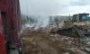 В Мурино на территории промзоны загорелась несанкционированная свалка