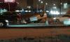 На Богатырском проспекте перевернулся автомобиль