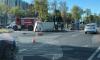 На Пулковском шоссе перевернулся грузовик