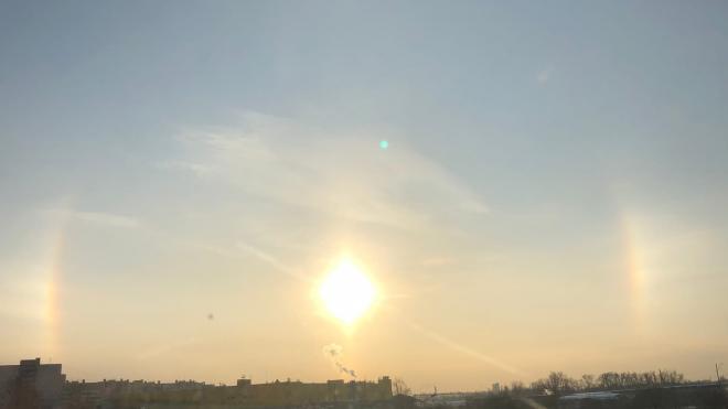 В небе Петербурга заметили радужное гало после самой холодной ночи зимы