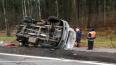 На Приморском шоссе легли перевернувшиеся иномарка ...