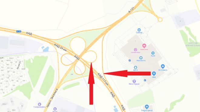 На развязке КАД с проспектом Энгельса полностью перекроют два съезда