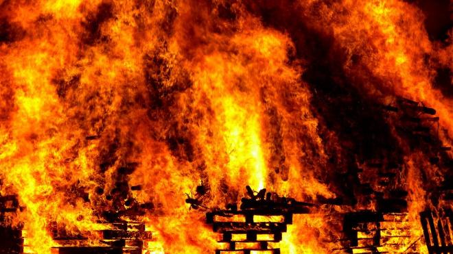 В Гатчинском районе дотла сгорел ангар