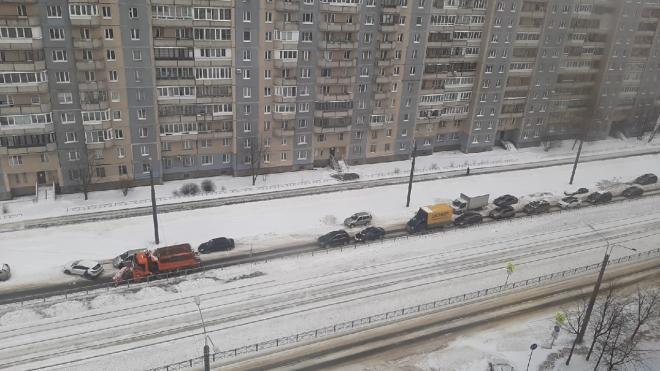 В Приморском районе пятеро мужчин вручную парковали каршеринг, который мешал снегоуборочной технике