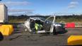 Вертолет забрал с КАД водителя разбитого Renault Logan