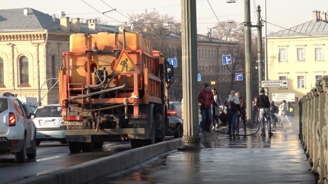 На прошлой неделе с дорог Петербурга собрали 3 тонны грязи