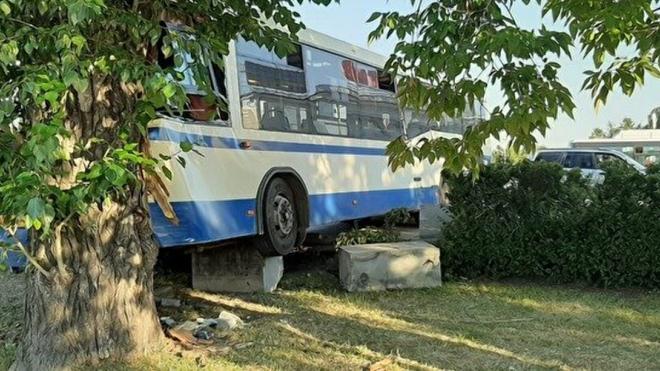 В Екатеринбурге автобус с пассажирами без водителя за рулем врезался в дерево
