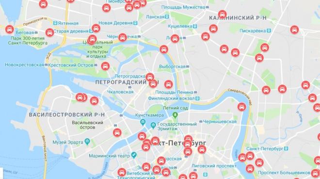 Новая карта Петербурга отражает самые аварийно-опасные участки дорог