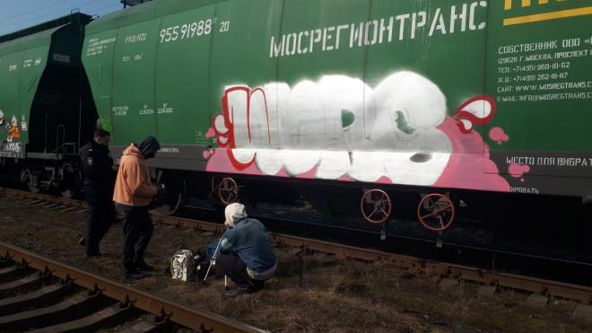 """Граффитист хотел разрисовать вагоны на станции """"Кушелевка"""", но его задержали"""