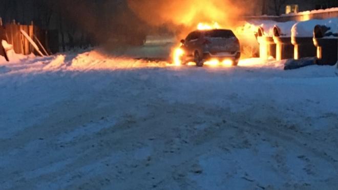 В Ломоносовскомрайоне посреди снежной бури загорелась машина