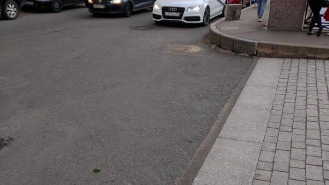 В Адмиралтейском районе ветер опрокинул дорожный знак на Audi