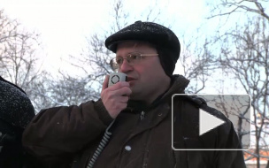 Зеленую зону защищали на морозе. Митинг против вырубки Невского лесопарка прошел у Адмиралтейства