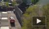 Появилось видео пожара в Новосибирске на улице Дружбы