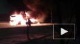 На Малой Балканской загорелся автобус: видео с места ЧП