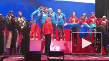 Биатлонисты спели гимн после победы на ЧМ