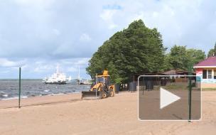 На пляже Выборга восстанавливают волейбольные площадки