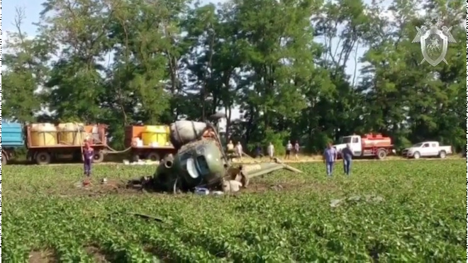 На Кубани разбился пилот во время жесткой посадки вертолета Ми-2