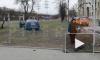 После аварии на перекрестке Маршала Говорова и Корнеева иномарку вынесло на газон