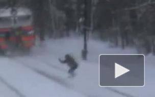 На сноуборде по железной дороге