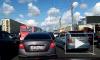 """Видео: у метро """"Улица Дыбенко"""" образовалась километровая пробка из-за ДТП"""