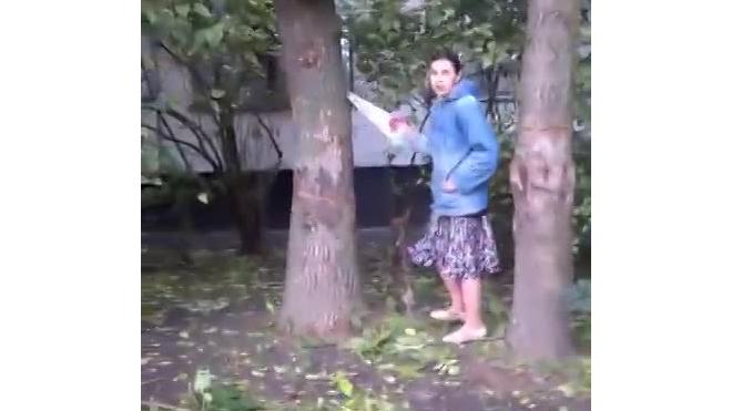 На Белградской улице женщина попыталась спилить дерево, чтобы оно не придавило дом во время урагана