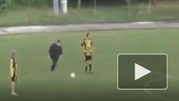 Полный мужчина забил гол со штрафного