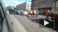 На Среднеохтинском собралась пробка из трамваев из-за ...