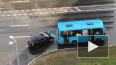 Видео: на Комендантском легковушка влетела в автобус ...