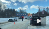 Видео: в районе Токсово разбитая иномарка перекрыла дорогу