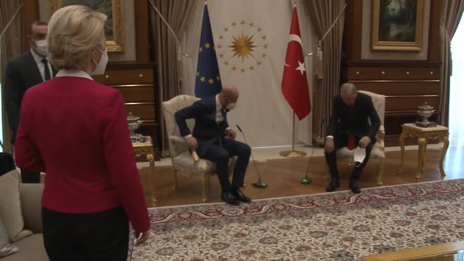Главу Еврокомиссии оставили без стула на переговорах с Эрдоганом
