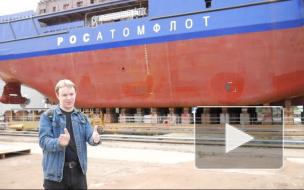 Ледокол «Обь» спустили на воду в Выборге