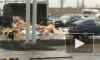 Грузовик, но не с пряниками: на Московском шоссе опрокинулся мусоровоз