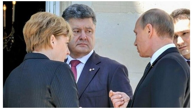 Владимир Путин, Ангела Меркель и Петр Порошенко на встрече в Милане обсудили украинский кризис