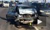Пассажирка серьезно повредила лицо в аварии на КАД у съезда в Парголово