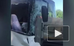 Опубликовано видео с места аварии на Кубани, где пассажирский автобус протаранил грузовик