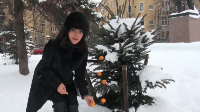 Мандариновый оазис. Актриса Самохина  украсила ель у метро Горьковская