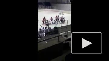 Массовая драка в женском хоккее