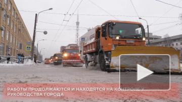 Петроградский район Петербурга расчищают от снега
