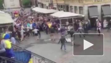 Украинские и немецкие фанаты устроили массовую драку