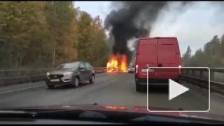 Водитель легковушки заживо сгорел после ДТП на Волхонском шоссе: видео