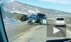 На дороге под Пятигорском трактор потерял колесо и устроил опасный дрифт